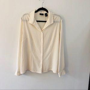 Laura Scott blouse ivory Blk Pinstripe Sz18 sq hem